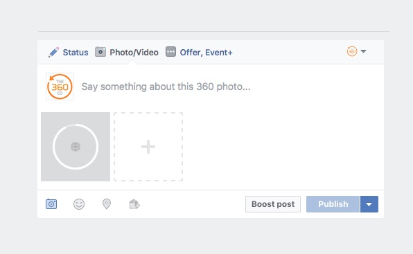 Facebook's 360 icon and uploading status