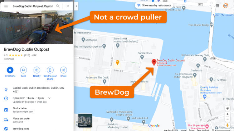 BrewDog Dublin Outpost on Google Maps (Before)